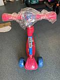 Дитячий триколісний самокат складаний Scooter 2188 зі світними колесами, підсвічуванням і музикою, Малиновий, фото 5