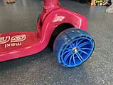 Дитячий триколісний самокат складаний Scooter 2188 зі світними колесами, підсвічуванням і музикою, Малиновий, фото 6