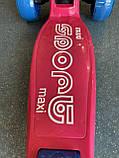 Детский трехколесный самокат складной Scooter 2188 со светящимися колесами, подсветкой и музыкой, Малиновый, фото 7