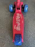 Дитячий триколісний самокат складаний Scooter 2188 зі світними колесами, підсвічуванням і музикою, Малиновий, фото 9