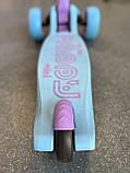 Самокат триколісний складаний Scooter Happy MINI зі світними колесами, Блакитний, фото 3