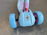 Самокат триколісний складаний Scooter Happy MINI зі світними колесами, Блакитний, фото 5