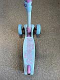 Самокат триколісний складаний Scooter Happy MINI зі світними колесами, Блакитний, фото 7