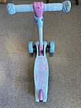 Самокат триколісний складаний Scooter Happy MINI зі світними колесами, Блакитний, фото 10