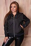 Женская тонкая куртка 54 размера, (48, 50, 52, 54, 56) плащевка, бомбер, ветровка, цвет Черный, фото 2