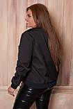 Женская тонкая куртка 54 размера, (48, 50, 52, 54, 56) плащевка, бомбер, ветровка, цвет Черный, фото 3