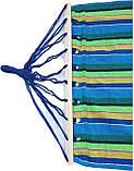 Гамак большой с деревянной планкой ткань хлопок для дачи сада отдыха планка 80 см полотно 200х80 см Синий, фото 3