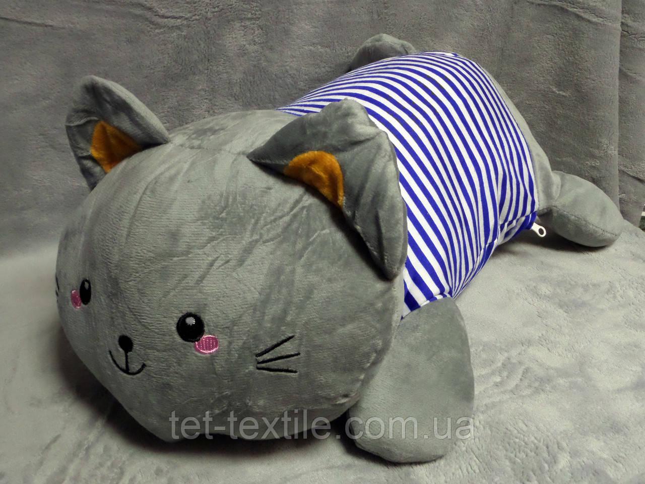 """Мягкая игрушка - подушка с пледом внутри """"Серый кот в синей тельняшке"""""""