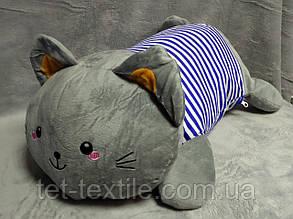 """Мягкая игрушка - подушка с пледом внутри """"Серый кот в синей тельняшке"""", фото 2"""