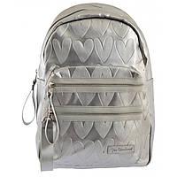 Серебристый рюкзак для девушки из экокожи с сердечками, фото 1