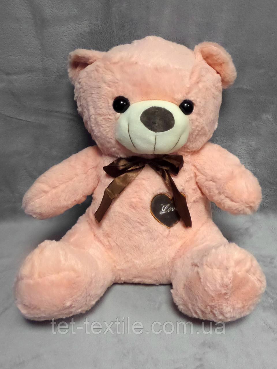 """Мягкая игрушка - подушка с пледом внутри """"Медвежонок"""" бледно-абрикосовый"""