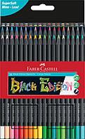 Карандаши цветные Faber-Castell Black Edition colour pencils 36 цветов трехгранные черное дерево, 116436