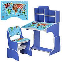 Детская парта с полками и стул B 2071-45-7 для девочки или мальчика Карта мира география цвет сине- фиолетовый