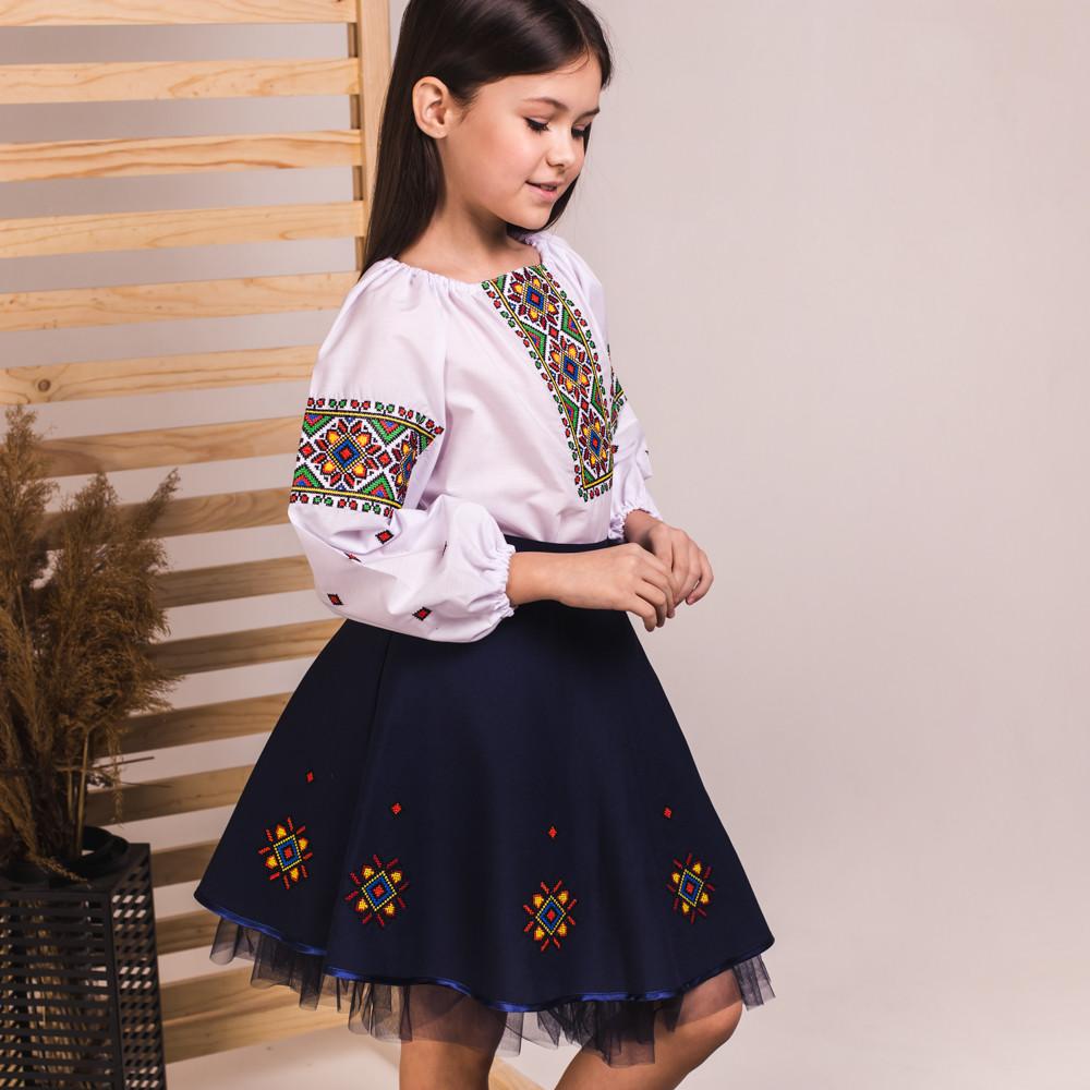 Вышитый костюмчик для девочки Оксанка синий