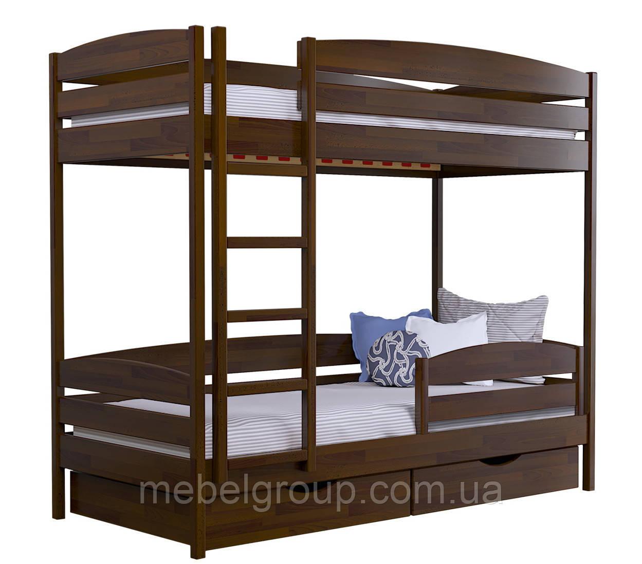Двухъярусная кровать Дует Плюс Щит, с ящиками масив + защитный бортик