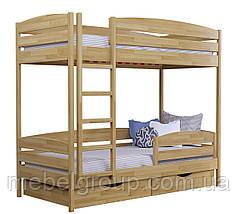 Двухъярусная кровать Дует Плюс Щит, с ящиками масив + защитный бортик, фото 3