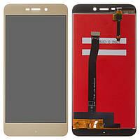 Дисплей (LCD) Xiaomi Redmi 4a с тачскрином, золотистый, оригинал (PRC)