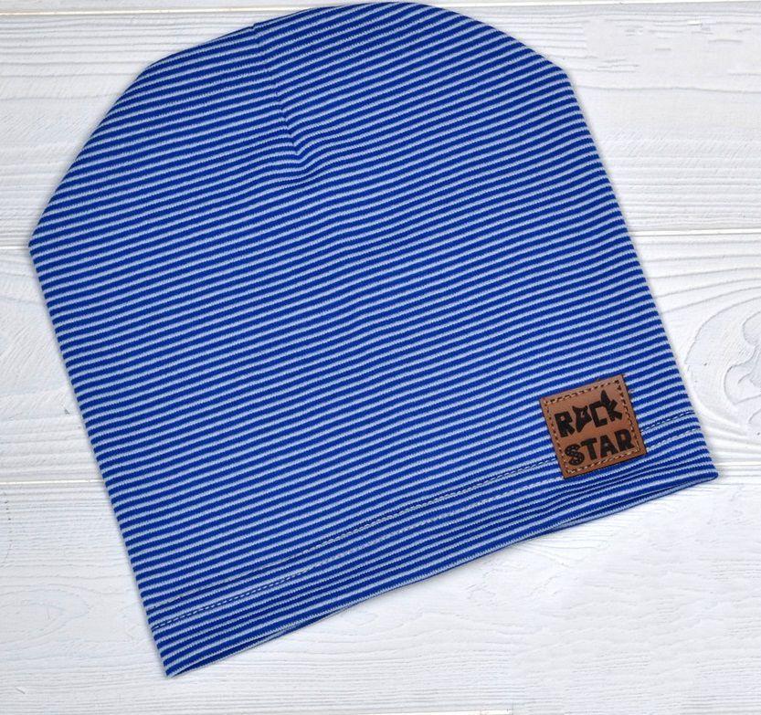 Детские тонкие демисезонные шапки для мальчика Синий в полоску