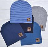Детские тонкие демисезонные шапки для мальчика Синий в полоску, фото 3