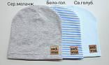 Детские тонкие демисезонные шапки для мальчика Синий в полоску, фото 4