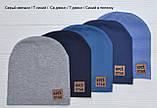 Детские тонкие демисезонные шапки для мальчика Синий в полоску, фото 5