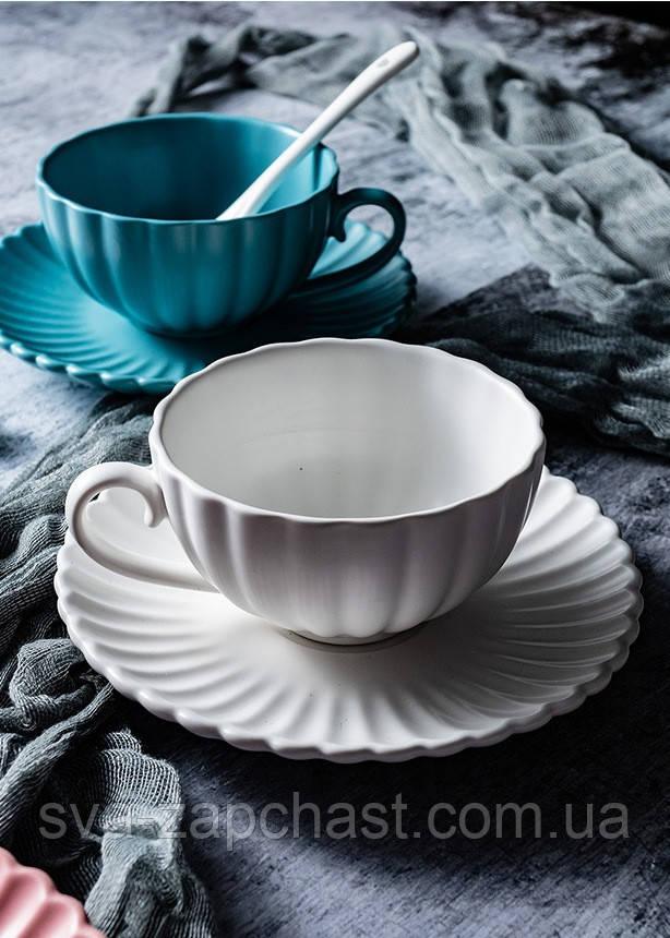 Чашка кавова з блюдцем біла