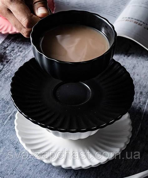 Чашка кавова з блюдцем чорна