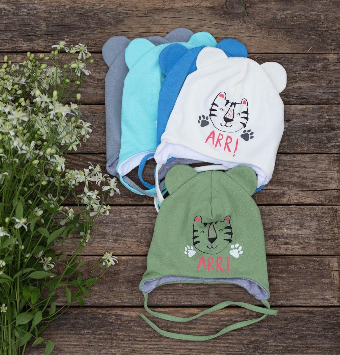Шапка з вушками для маленького хлопчика 1-3 місяців на весну-осінь - Артикул 2631