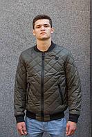 Модная мужская демисезонная стёганная куртка-бомбер цвет хаки 46-52 размер