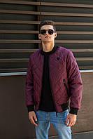 Мужская демисезонная стёганная куртка-бомбер бордового цвет 46-52 размер
