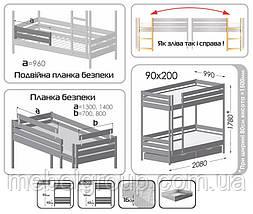 Двухъярусная кровать Дует Плюс Щит, с ящиками масив, фото 2