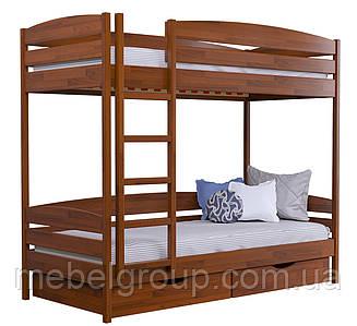Двоярусне ліжко Дует Плюс Щит, з ящиками масив