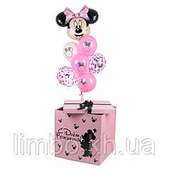 Коробка сюрприз розовая в стиле Минни Маус