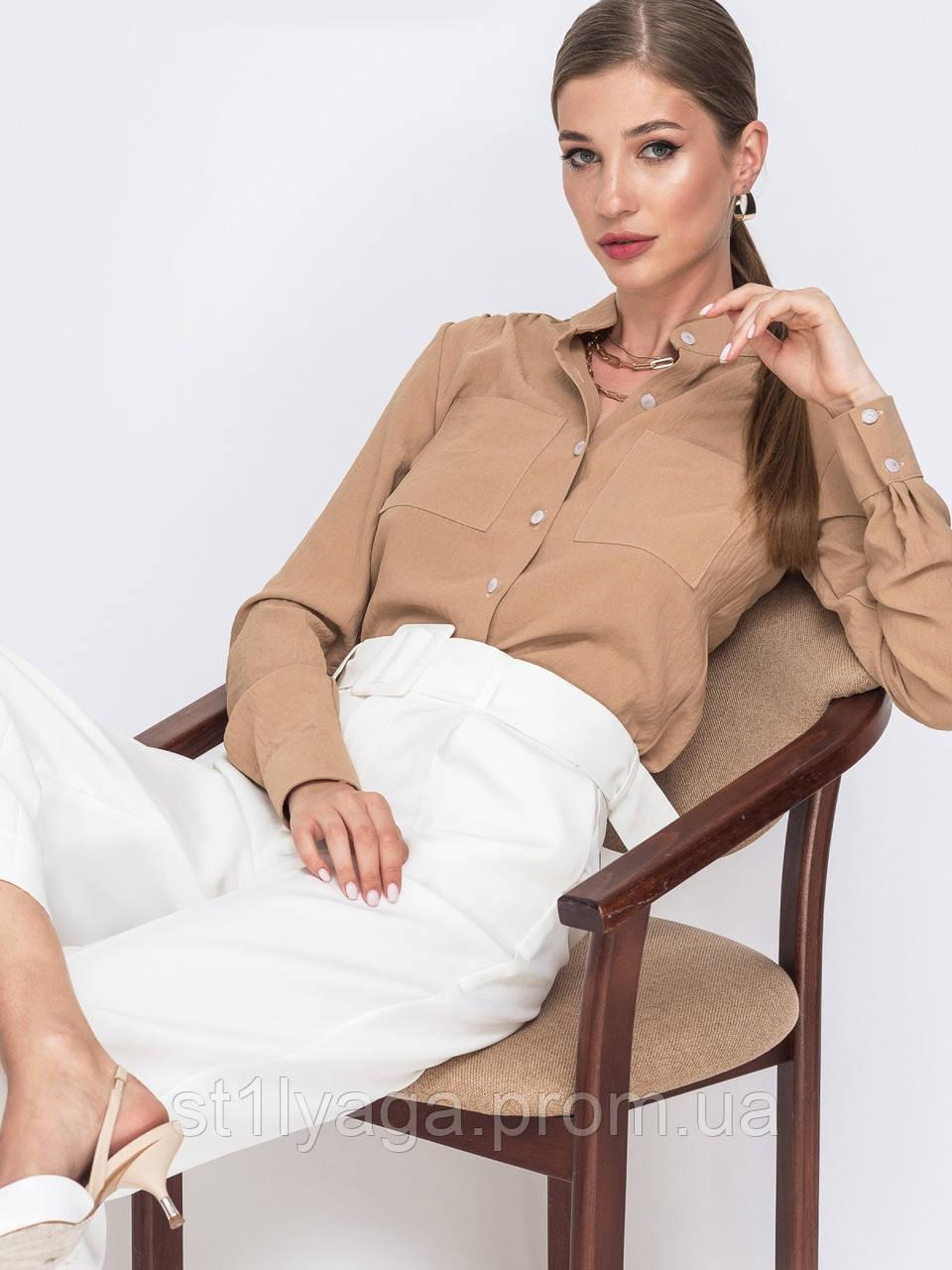 Блузка  с длинным рукавом и воротником-стойкой