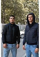 Мужская демисезонная куртка батал синяя и чёрная 54-60 размер