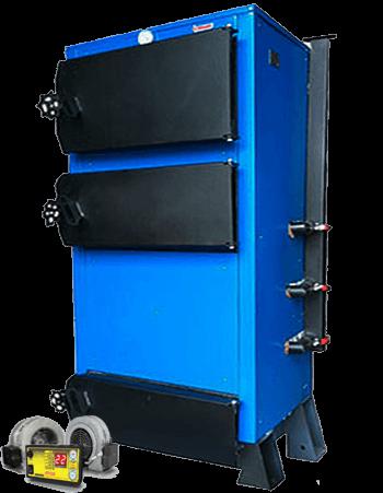 Твердотопливный котел Эталон КСТО-А 70 кВт с электронной турбиной и блоком управлением в комплекте