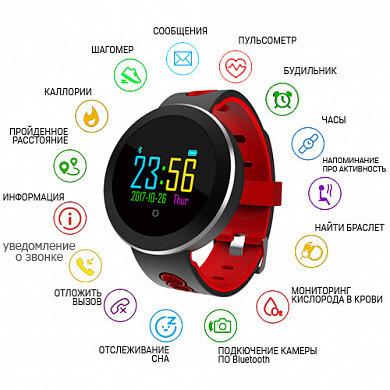 Фитнес-браслет Q8, Bluetooth, Диаметр 38 мм. Размер ремешка 147-215 мм / 18 мм, красный-чёрный