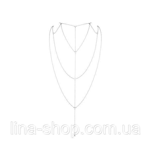 Ланцюжок для спини Bijoux Indiscrets Magnifique Back and Cleavage Chain - Silver, прикраса для тіла