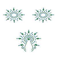 Пэстис з кристалів Petits Joujoux Gloria set of 3 - Green/Blue, прикраса на груди і вульву, фото 1