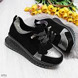 Женские кроссовки из натуральной замши с напылением, черные, фото 2