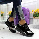 Женские кроссовки из натуральной замши с напылением, черные, фото 4