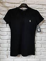 Женская трикотажная футболка Polo Ralph Lauren с триугольным вырезом
