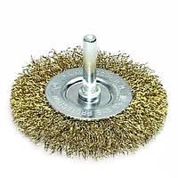 Щетка дисковая 6 х 75 мм по металлу и дереву из латунированной витой проволоки для ручных дрелей (Германия)