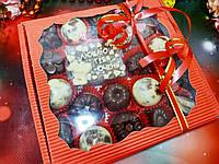 Коробка для пряників, подарунків без ложемента червона 200х200х30 мм., фото 1