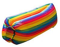 Надувной лежак, шезлонг, мешок, ламзак Радужный + Сумка для переноски (5697)