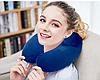 Подушка - подголовник дорожная с наполнителем полистирольными шариками для отдыха в дороге