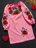 Вышитое платье c красивым приятным цветом и с поясом для девочки