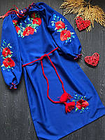Вышитое платье c красивыми цветами и с поясом для девочки