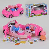 Машина для девочек модель YM 11-803, трансформируется, цвет розовый, свет, звук, в коробке куклы и аксессуары.