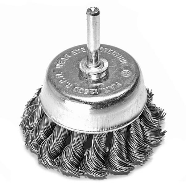 Щітка чашкова 6 х 75 мм по металу і дереву з плетеним дроту для ручних дрилів (Німеччина)